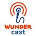 Das Logo des Podcasts Wundercast. Ein blaues Mikrofon mit dem Wundernetz Logo.