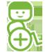 Das Logo von Wheelmap. Ein grünes Männchen in einem Rollstuhl.