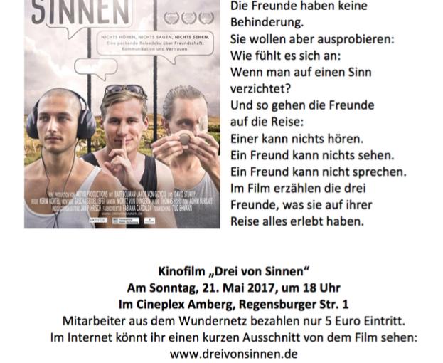 """Filmvorführung """"Drei von Sinnen"""" mit Diskussion am 21.05.2017 um 18 Uhr"""