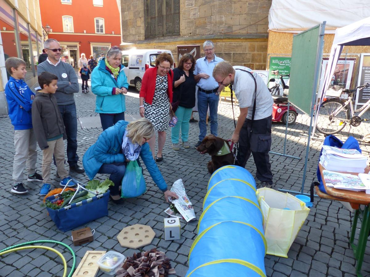 Andreas und Therapiehund Janosch zeigen Zuschauern Tricks