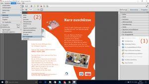 Ein Bildschirmfoto auf dem zu sehen ist wie die Werkzeugleiste Ein/Ausgabehilfe in Adobe Acrobat Pro geöffnet werden kann