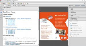 Ein Bildschirmfoto auf dem ein PDF-Prüfbericht für ein geöffnetes PDF-Dokument in Adobe Acrobat Pro zu sehen ist