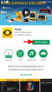 """Durch antippen von """"Installieren"""" auf der App-Seite startet man die Installation."""