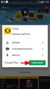 Um der App den Zugriff auf verschiedene Daten zu erlauben, muss man mit Akzeptieren bestätigen.