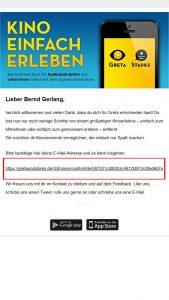 Bildschirmfoto einer E-Mail. Ein Link ist mit einem rotem Kasten markiert. Dieser Link muss geklickt werden, um die Anmeldung abzuschließen.