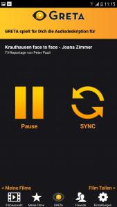 Die Benutzeroberfläche der App Greta. Es sind zwei Buttons zu sehen, einer mit der Aufschrift Pause und einer mit der Aufschrift Sync. Mit Sync startet man die Synchronisation.