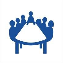 Wundernetz-Symbol Arbeitsgruppe. 6 Personen die um einen Tisch sitzen und sich besprechen.