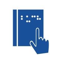 Wundernetz-Symbol Hilfsmittel für Sehbehinderungen. Eine Seite mit Braille-Schrift und eine Hand.