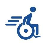 Wundernetz-Symbol Rollstuhlfahrer. Ein Mensch im Rollstuhl der sehr schnell fährt.
