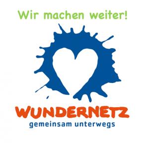 """Das Wundernetzlogo: Ein Herz in einem blauen Farbkleks und dem Schriftzug """"Wundernetz gemeinsam unterwegs"""". Über dem Logo steht """"Wir machen weiter!"""""""