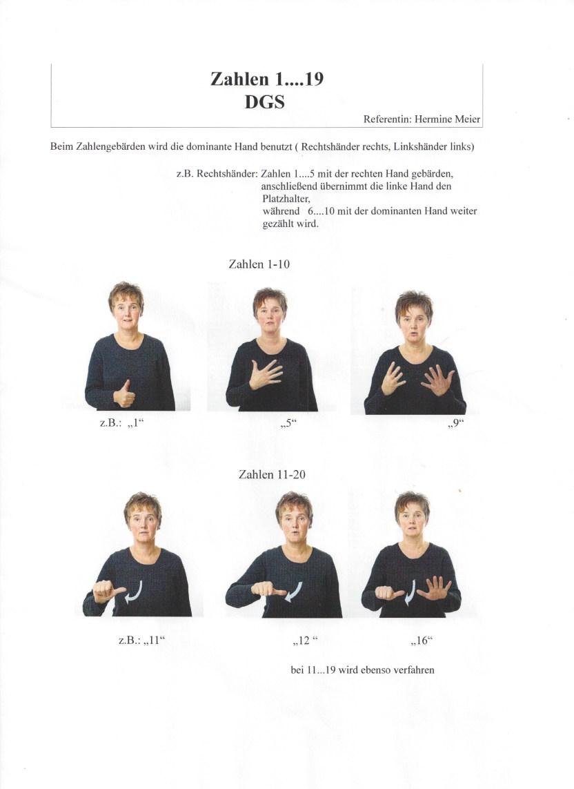 Auf diesem Arbeitsblatt von Hermine sieht man Fotos von ihr, die die Bewegungsabläufe für das korrekte Gebärden zeigen.