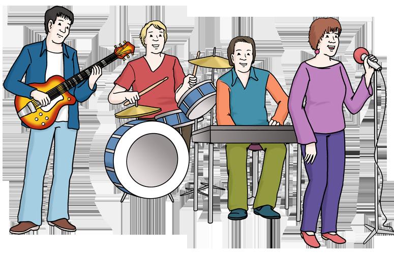 Eine Gruppe Menschen die auf Instrumenten Musik machen