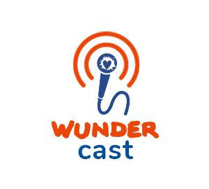 Das Logo des Wundercast ein Mikrofon mit dem Wundernetzsymbol aus dem kreisförmige Wellen ausgesendet werden.