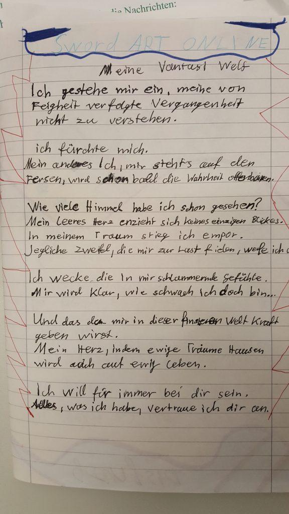 Ein Blatt mit der handgeschriebenen Geschichte von Anita Rösch