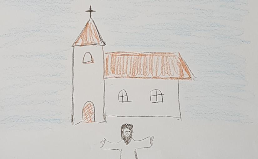 Zeichnung: Im Hintergrund stehet eine Kirche und im Vordergrund ein bärtiger Mann mit ausgebreiteten Armen.