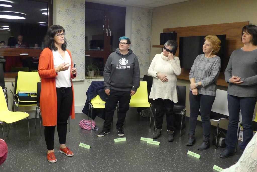 Birgit erklärt der Gruppe, wie man beim Vortrag einen guten Stand findet.