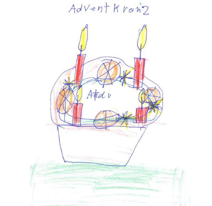 Zeichnung von Monika S. mit Filzstift, Kuli und Buntstiften auf Papier: Adventskranz mit vier brennenden roten Kerzen und Schmuck.