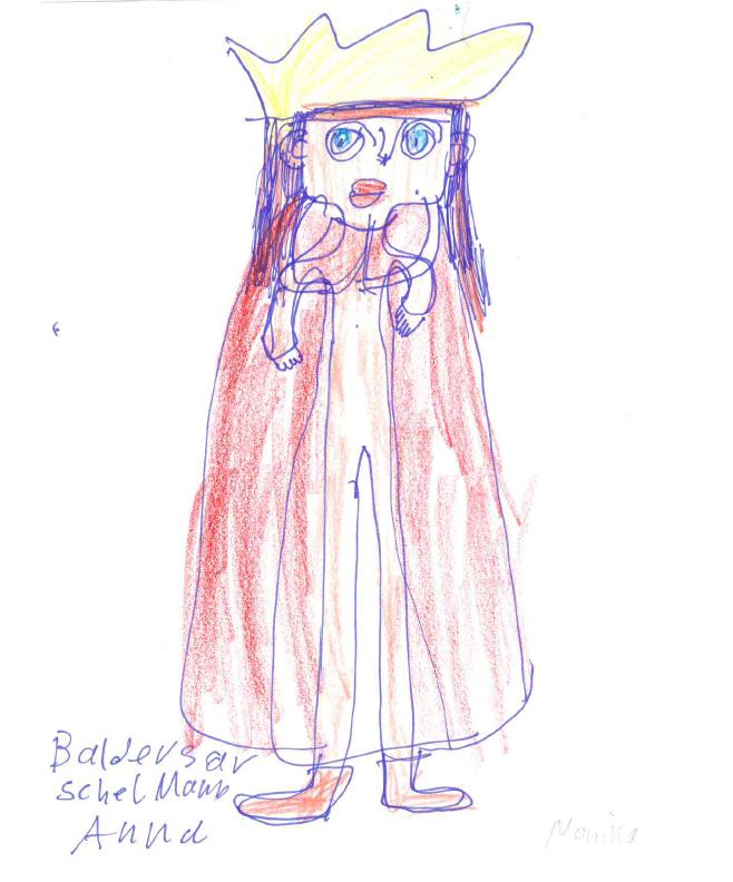 Zeichnung von Monika S. mit Filzstift, Kuli und Buntstiften auf Papier: Balthasar, einer der heiligen drei Könige.