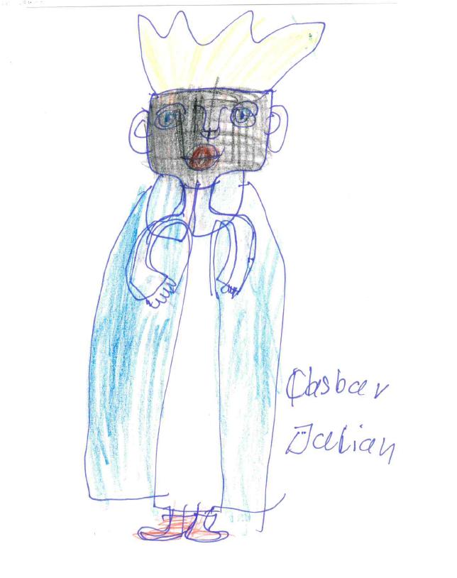 Zeichnung von Monika S. mit Filzstift, Kuli und Buntstiften auf Papier: Kaspar, einer der heiligen drei Könige.
