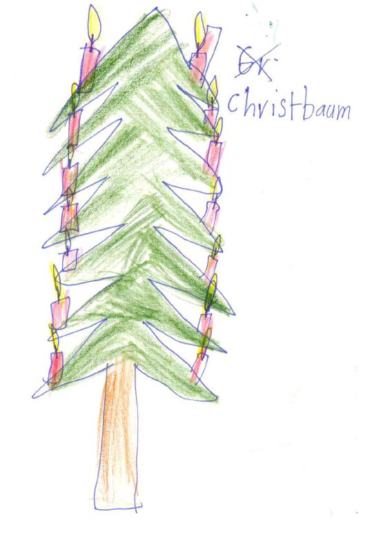 Zeichnung von Monika S. mit Filzstift, Kuli und Buntstiften auf Papier: Ein Christbaum mit vielen brennenden roten Kerzen.