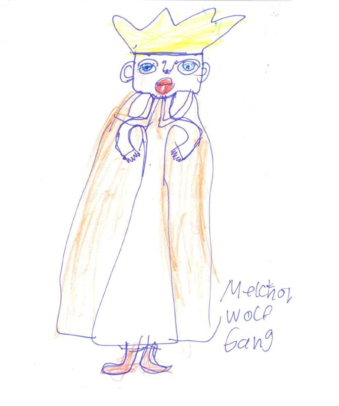 Zeichnung von Monika S. mit Filzstift, Kuli und Buntstiften auf Papier: Melchior, einer der heiligen drei Könige.
