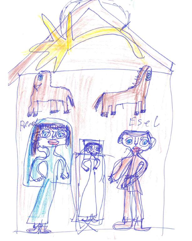 Zeichnung von Monika S. mit Filzstift, Kuli und Buntstiften auf Papier: Die Krippe mit einem großen Weihnachtsstern am Giebel, mit Maria und Josef und dem Kind und Ochs und Esel.