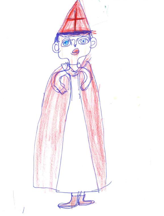 Zeichnung von Monika S. mit Filzstift, Kuli und Buntstiften auf Papier: Bischof Nikolaus